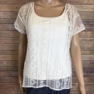 Tops - Sheer short sleeve boho embroidered shirt